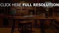 bibliothek bücher globus tisch retro
