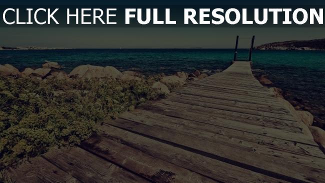 hd hintergrundbilder pier vorstand meer strand steine horizont