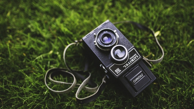 hd hintergrundbilder lubitel linse retro kamera gras