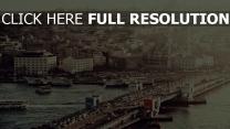 brücke stadt istanbul retro-foto