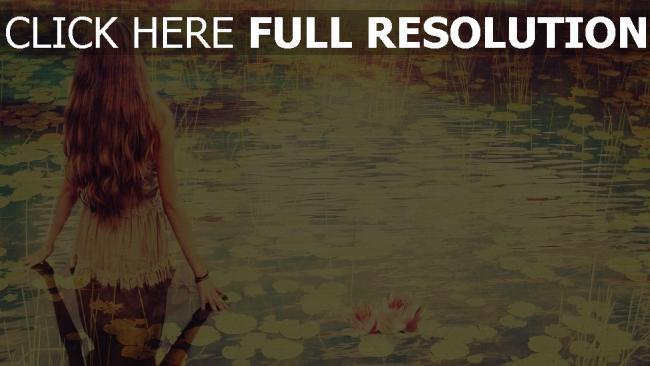 hd hintergrundbilder mädchen wasser teich lilie retro