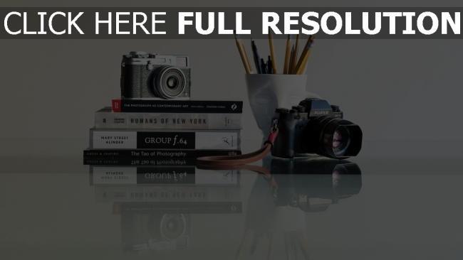 hd hintergrundbilder bücher kameras stifte zusammensetzung