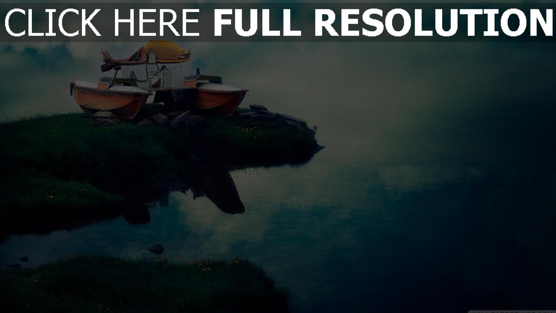 hd hintergrundbilder boote strand fluss wolken reflexion 1920x1080