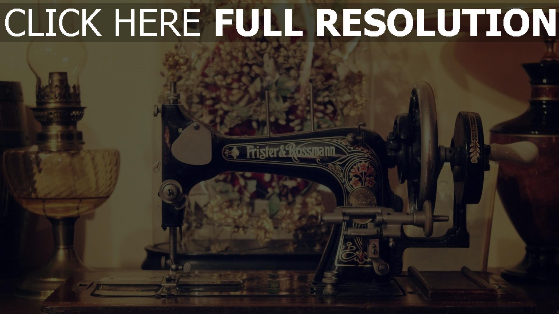hd hintergrundbilder naehen naehmaschine lampe retro stil