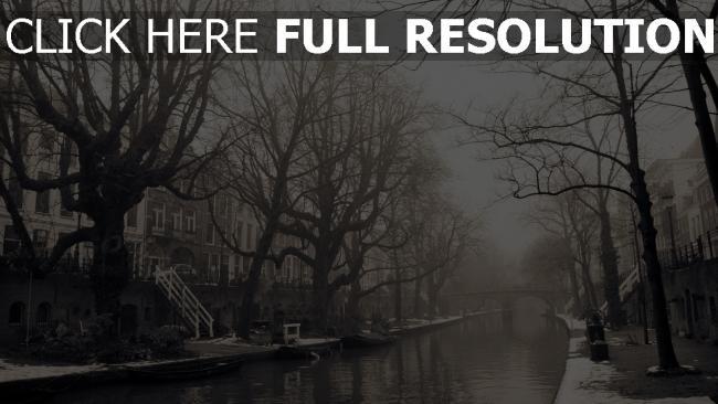 hd hintergrundbilder stadt nebel gebäude bäume melancholie stimmung