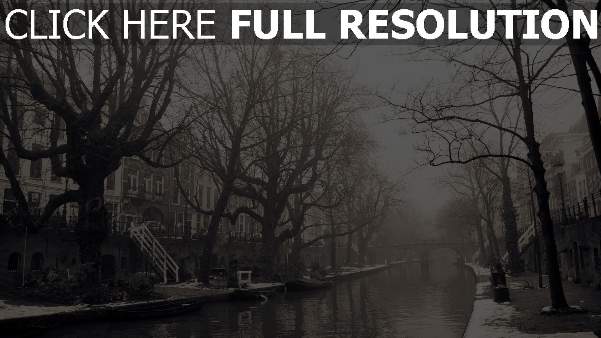 hd hintergrundbilder stadt nebel gebäude bäume melancholie stimmung 1920x1080