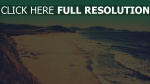 brandung meer küste sand strand vintage-fotografien