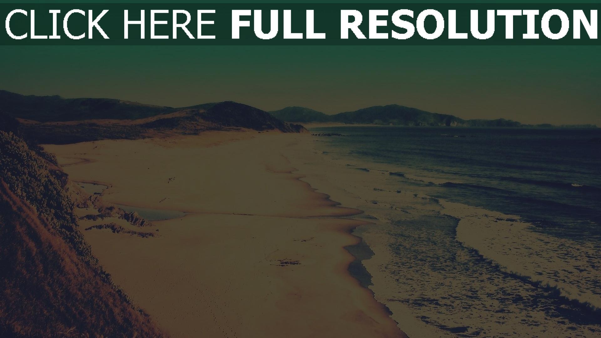 hd hintergrundbilder brandung meer küste sand strand vintage-fotografien 1920x1080