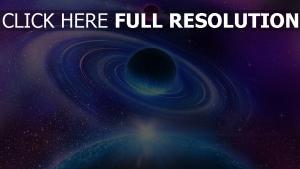 ringe planeten raum bahn blau