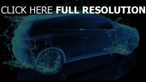 auto spritzer wasser blau rendern