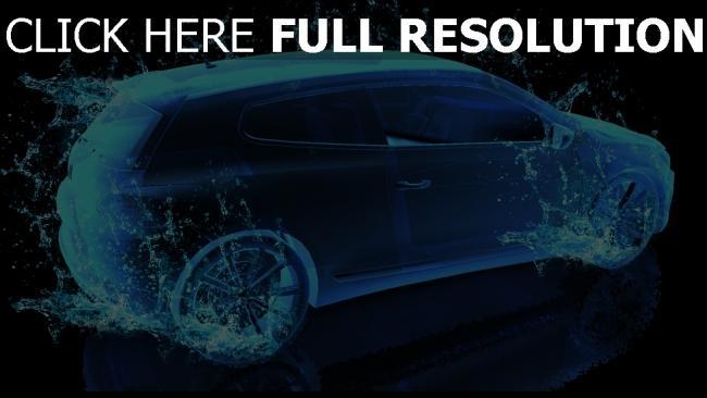 Hd Hintergrundbilder Auto Spritzer Wasser Blau Rendern Desktop