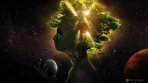 mädchen gesicht bäume licht raum