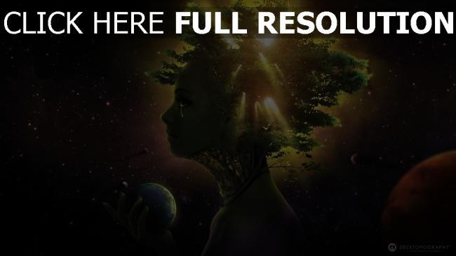 hd hintergrundbilder mädchen gesicht bäume licht raum