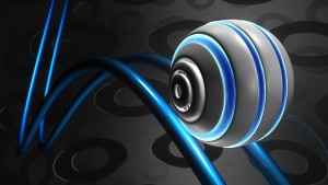 ball form 3d linien blau grau