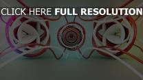 drähte ringe verheddert rot weiß