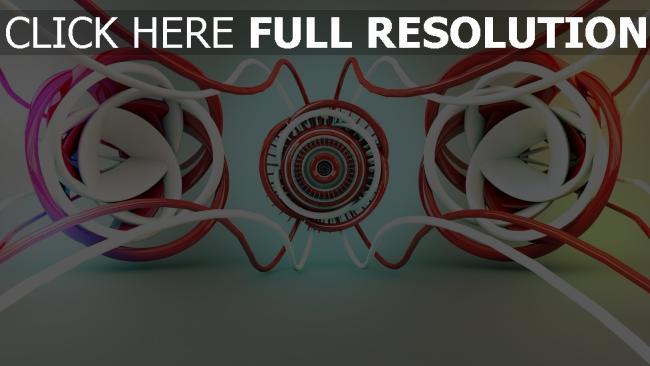 hd hintergrundbilder drähte ringe verheddert rot weiß