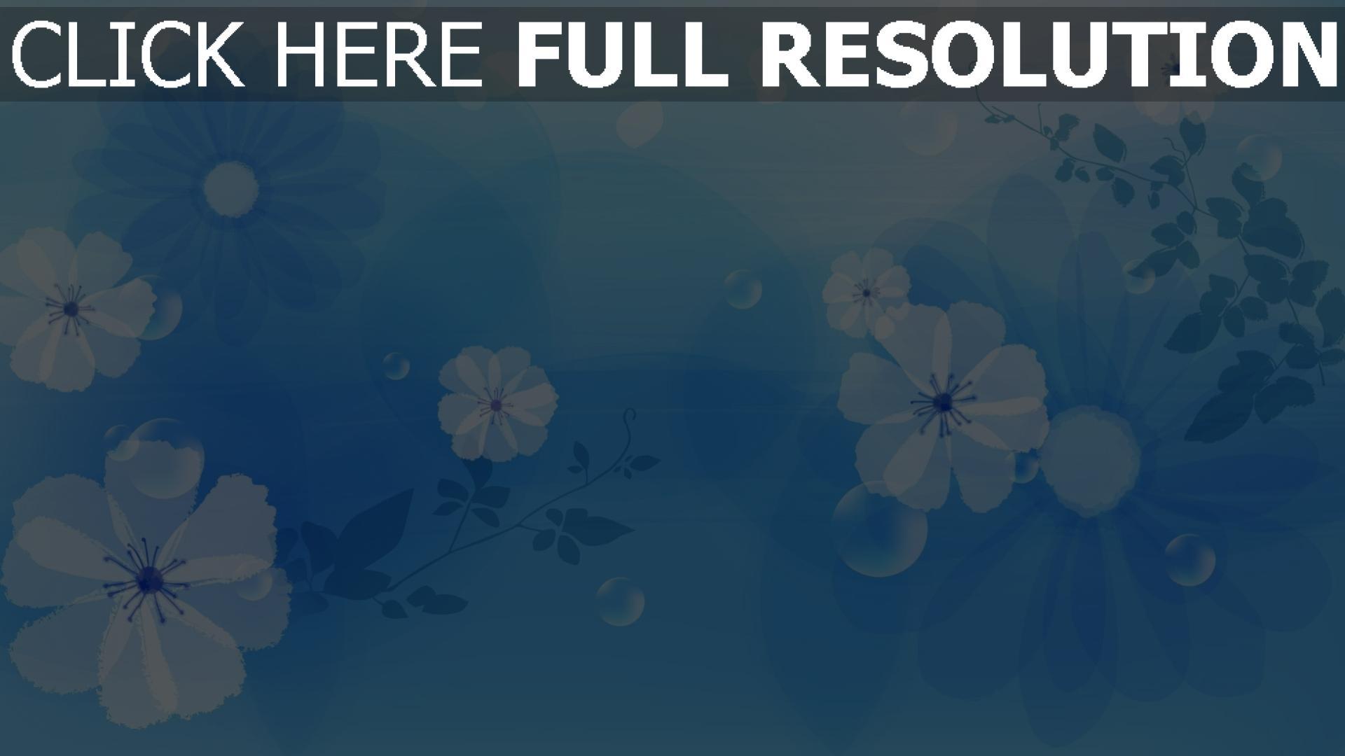 hd hintergrundbilder blumen muster kreise blau hell 1920x1080