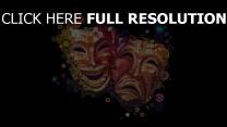 kreise masken emotionen bunt dunkel
