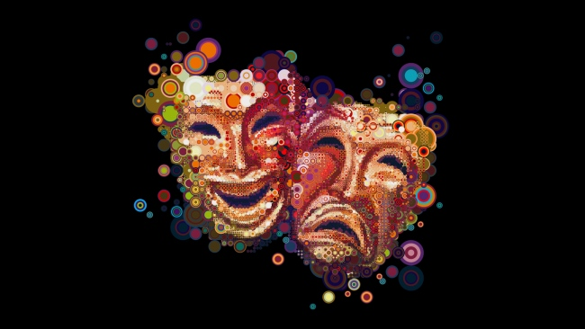 hd hintergrundbilder kreise masken emotionen bunt dunkel