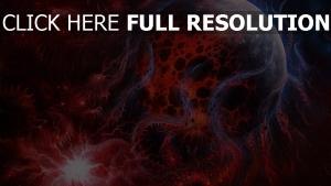 Weltraum rot Linien Kunst