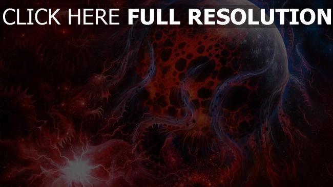 hd hintergrundbilder Weltraum rot Linien Kunst