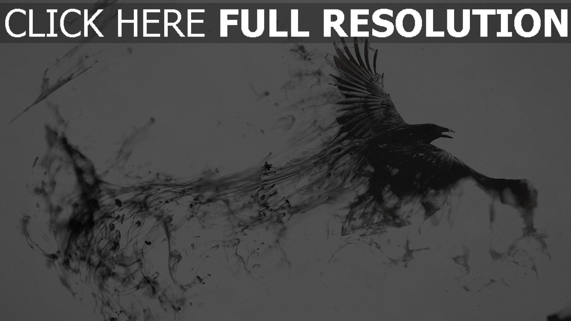 hd hintergrundbilder Schwarz Rauch Rabe fliegend 1920x1080