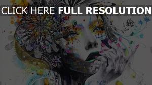 Abstraktion Malerei Mädchen Farbe Blumen Hand