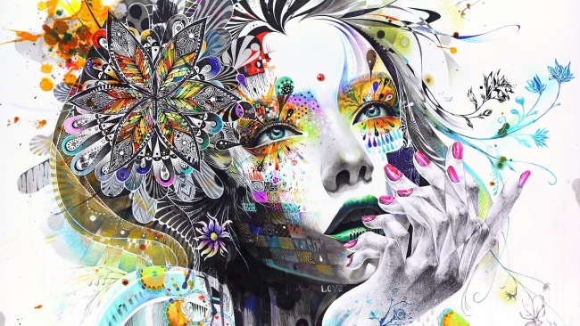 hd hintergrundbilder Abstraktion Malerei Mädchen Farbe Blumen Hand