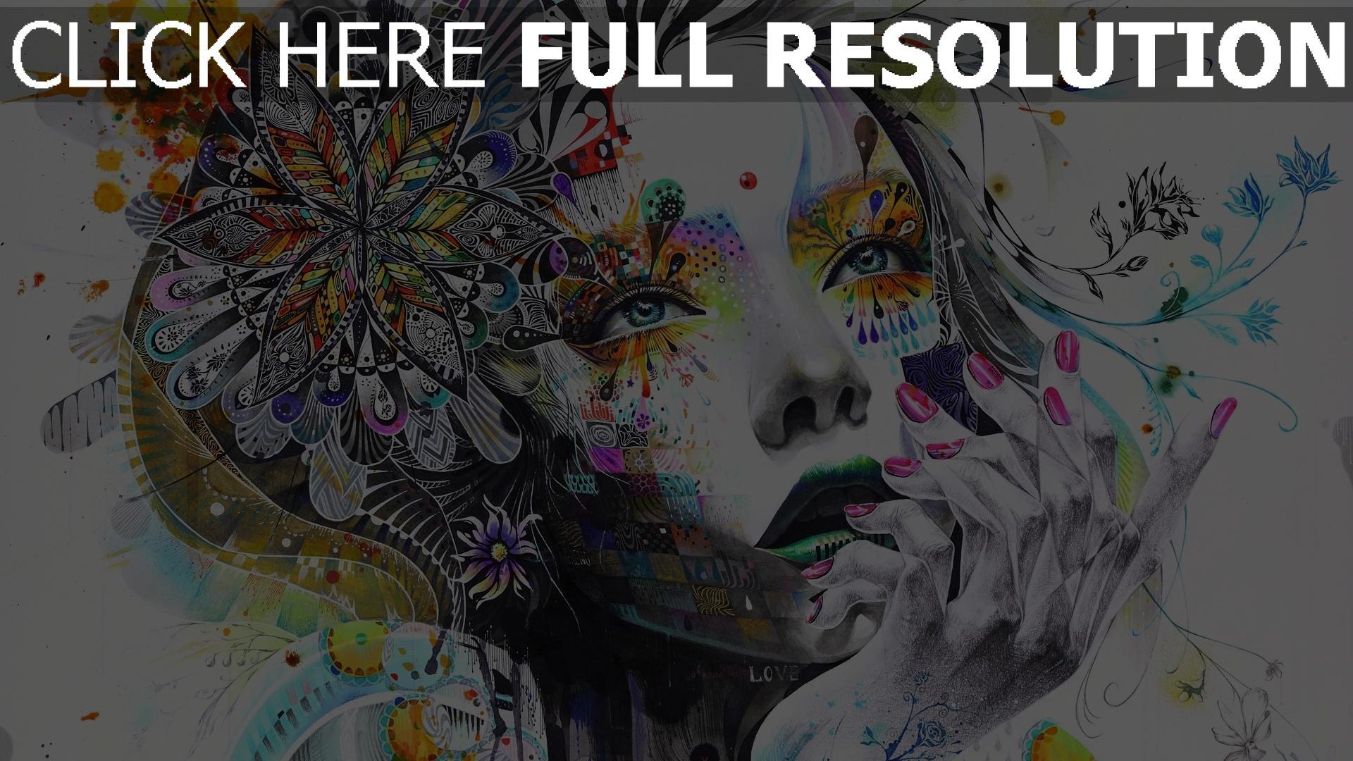 hd hintergrundbilder Abstraktion Malerei Mädchen Farbe Blumen Hand 1920x1080