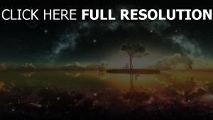 Landschaft, Baum, Sterne, Licht