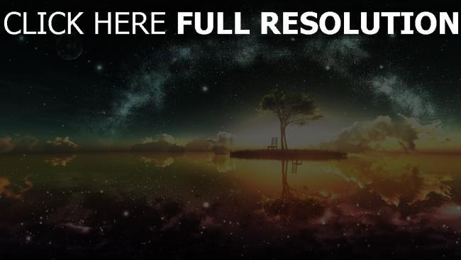 hd hintergrundbilder Landschaft, Baum, Sterne, Licht