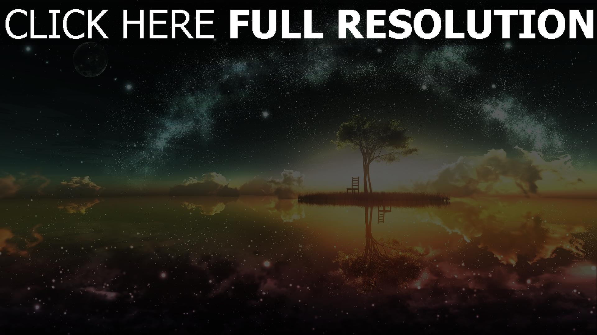 hd hintergrundbilder Landschaft, Baum, Sterne, Licht 1920x1080