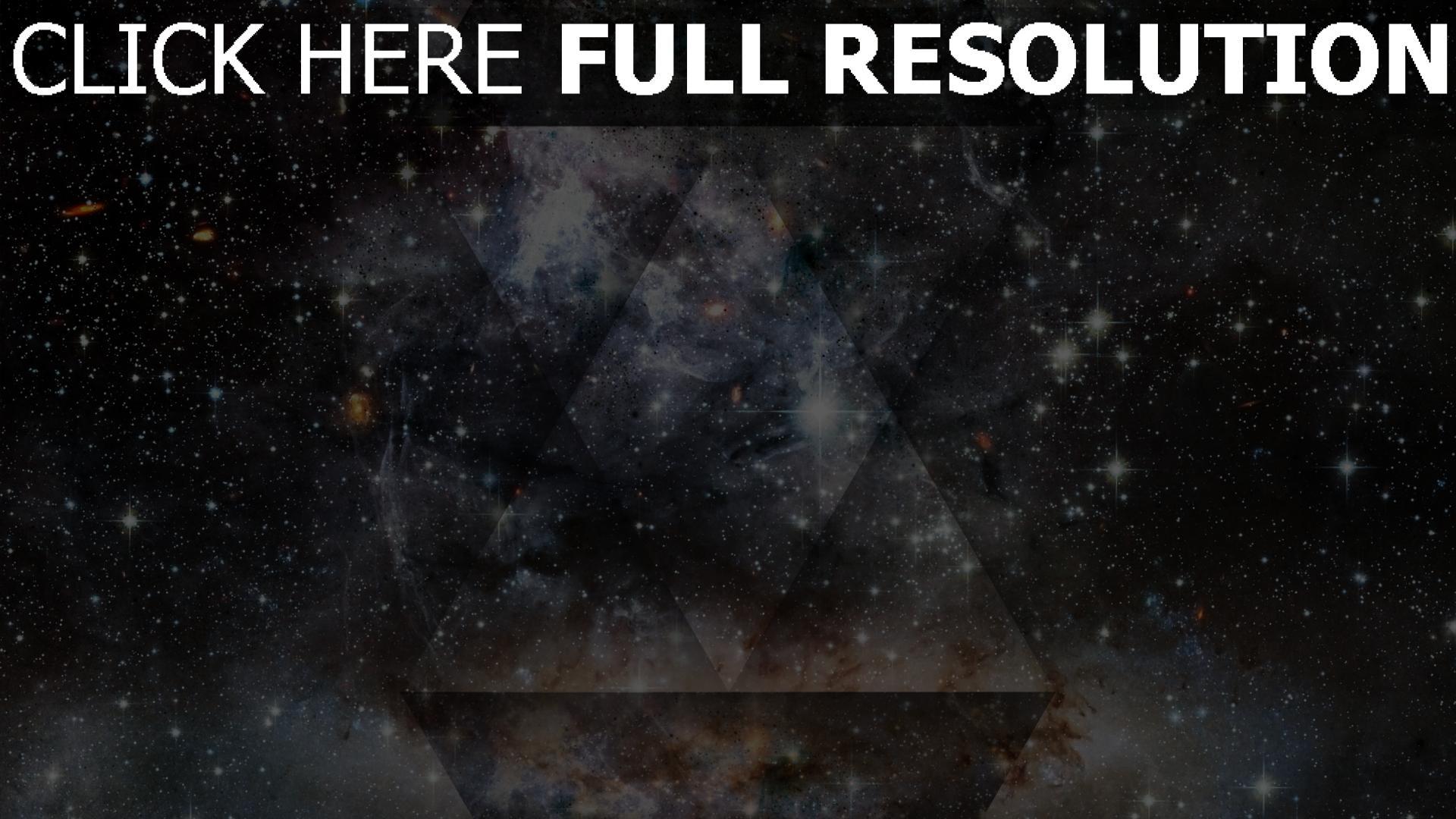 hd hintergrundbilder sterne dreiecke formen schwarzes 1920x1080