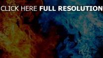 flammen blau orange glühen dunkel
