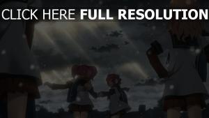 mädchen rosa haaren gebäude wolken schnee