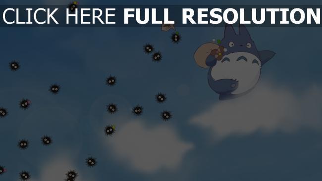 hd hintergrundbilder mein nachbar totoro himmel wolken flug