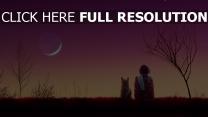himmel mond rosa katze mädchen Sonnenuntergang