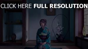 mädchen sitzend zimmer kimono lächeln