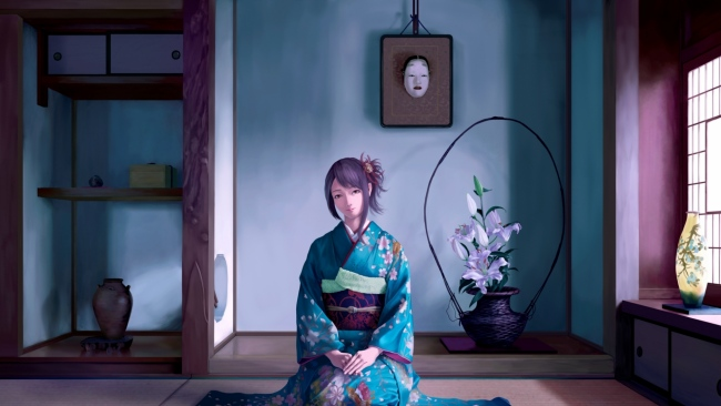 hd hintergrundbilder mädchen sitzend zimmer kimono lächeln
