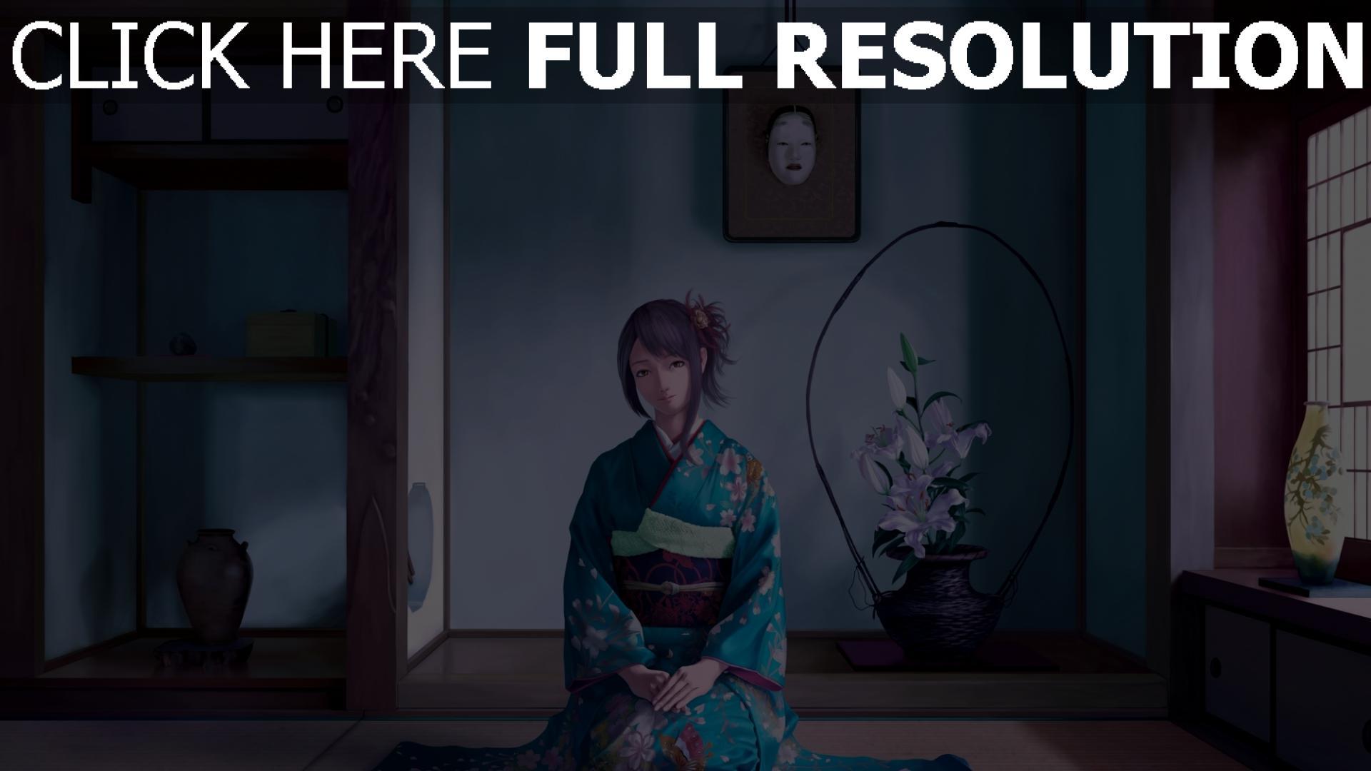 hd hintergrundbilder mädchen sitzend zimmer kimono lächeln 1920x1080