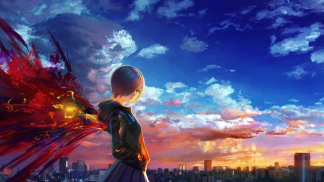 hd hintergrundbilder tokyo ghoul mädchen flügel himmel wolken stadt
