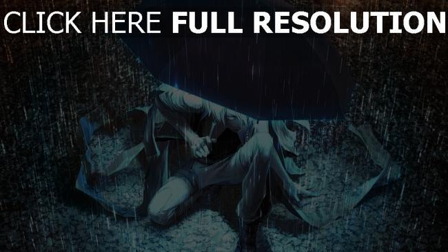 hd hintergrundbilder mann regenschirm regen licht nacht tropfen