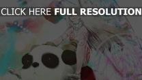 mädchen lange haare panda fahrt