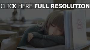 mädchen klasse schreibtisch buch schlafen