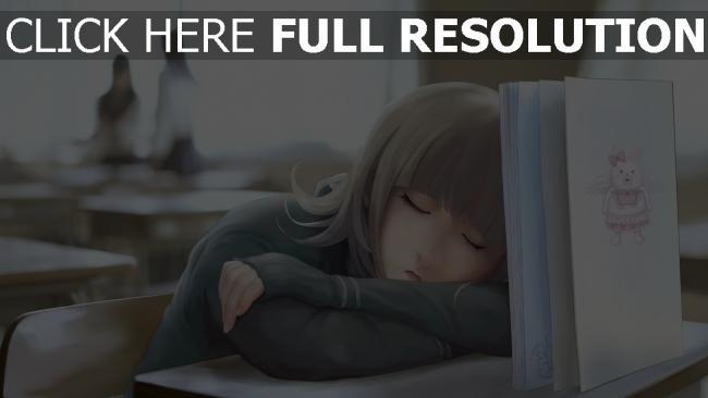 hd hintergrundbilder mädchen klasse schreibtisch buch schlafen