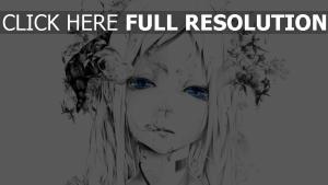 bouno satoshi art mädchen gesicht zeichnung schwarz-weiß