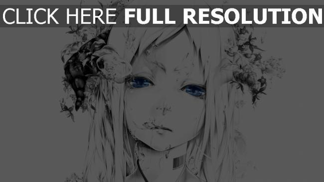 hd hintergrundbilder bouno satoshi art mädchen gesicht zeichnung schwarz-weiß