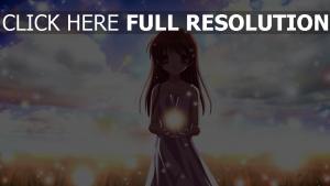 mädchen himmel licht beleuchtung feld