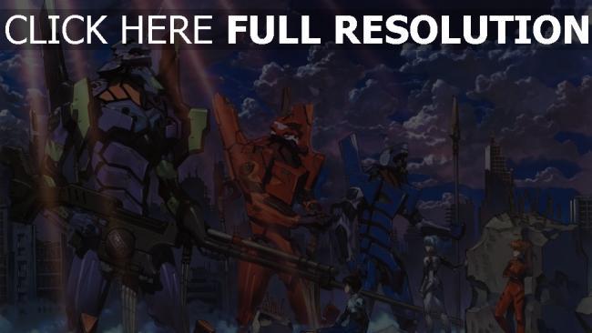 hd hintergrundbilder evangelion eva roboter stadt ruinen