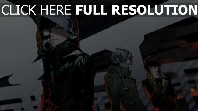 hd hintergrundbilder tokyo ghoul kaneki lunge haube jacke schwarz